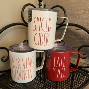 NEW Rae Dunn Set of 3 Metal Coffee Mugs